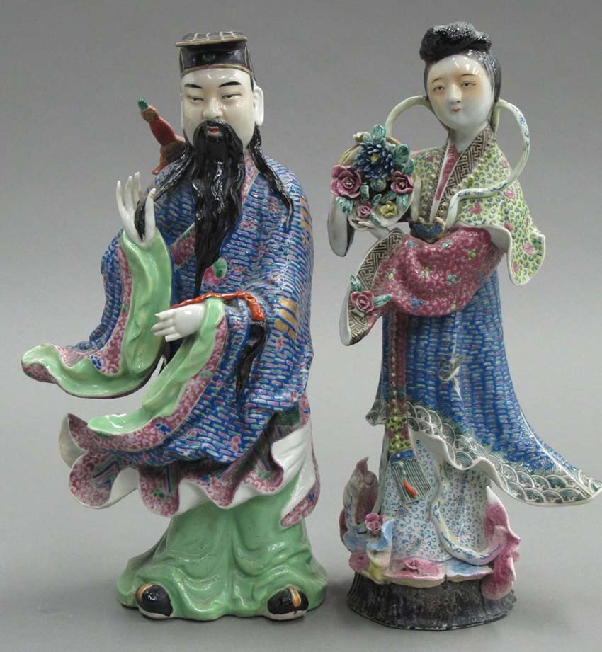 LOT OF (2) PAINTED PORCELAIN CHINESE FIGURES he