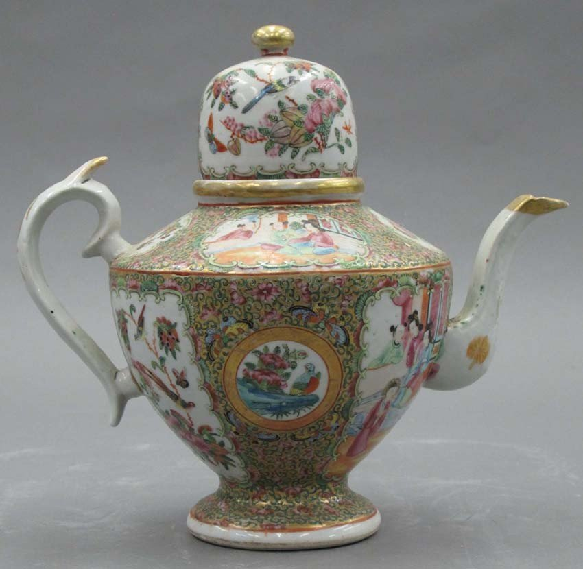ROSE CANTON TEAPOT circa 19th century height- 9