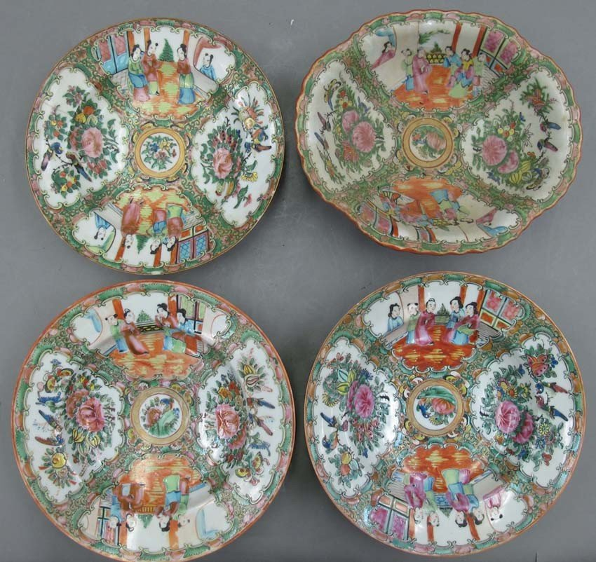 LOT OF (4) CHINESE ROSE CANTON BOWLS diameter-