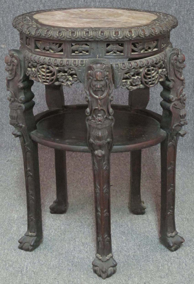 CHINESE SIDE TABLE with marble insert circa 19t