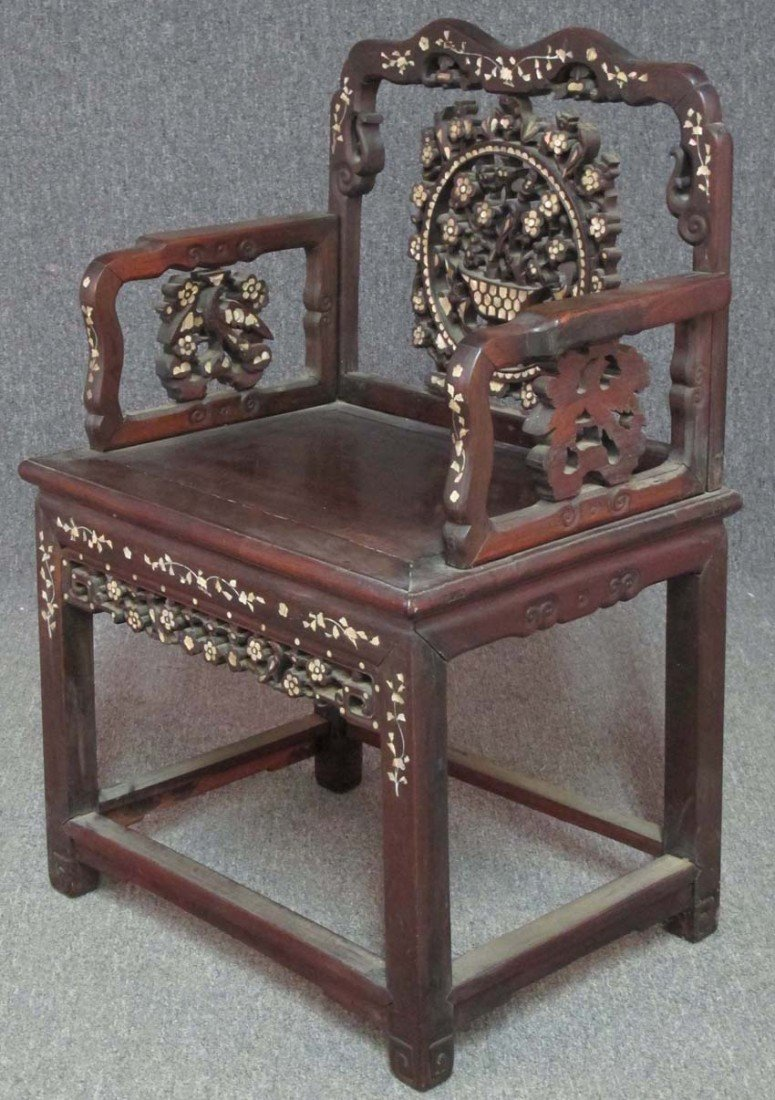 CHINESE MOTHER OF PEARL INLAID CHAIR height- 34
