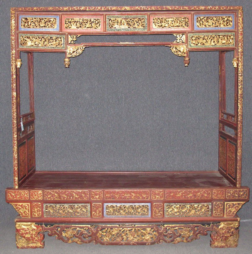 RED LACQUERED WEDDING BED circa early 20th cent