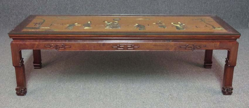 CHINESE COFFEE TABLE with hard stone decoration
