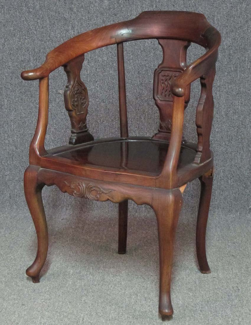 """CHINESE CARVED WOOD ARM CHAIR height- 35"""" width"""