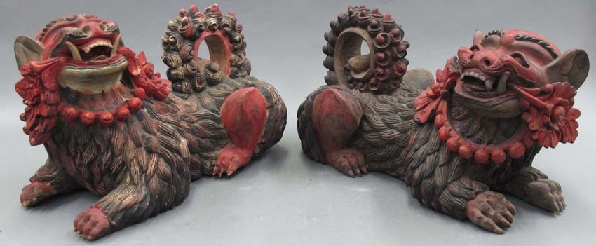 """PAIR OF CHINESE CARVED WOOD LIONS length- 20"""""""
