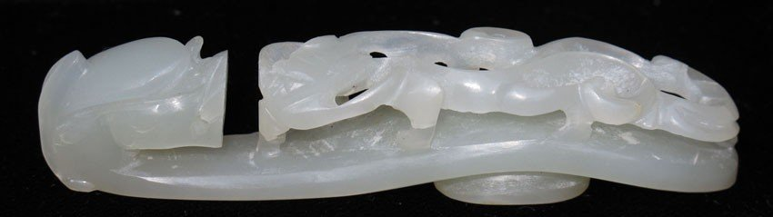 "CHINESE WHITE JADE BELT HOOK length- 3 1/8"""