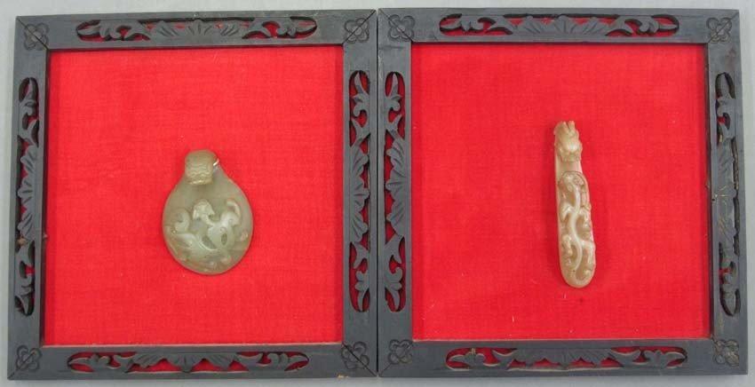 LOT (2) CHINESE JADE BELT HOOKS in wood frames