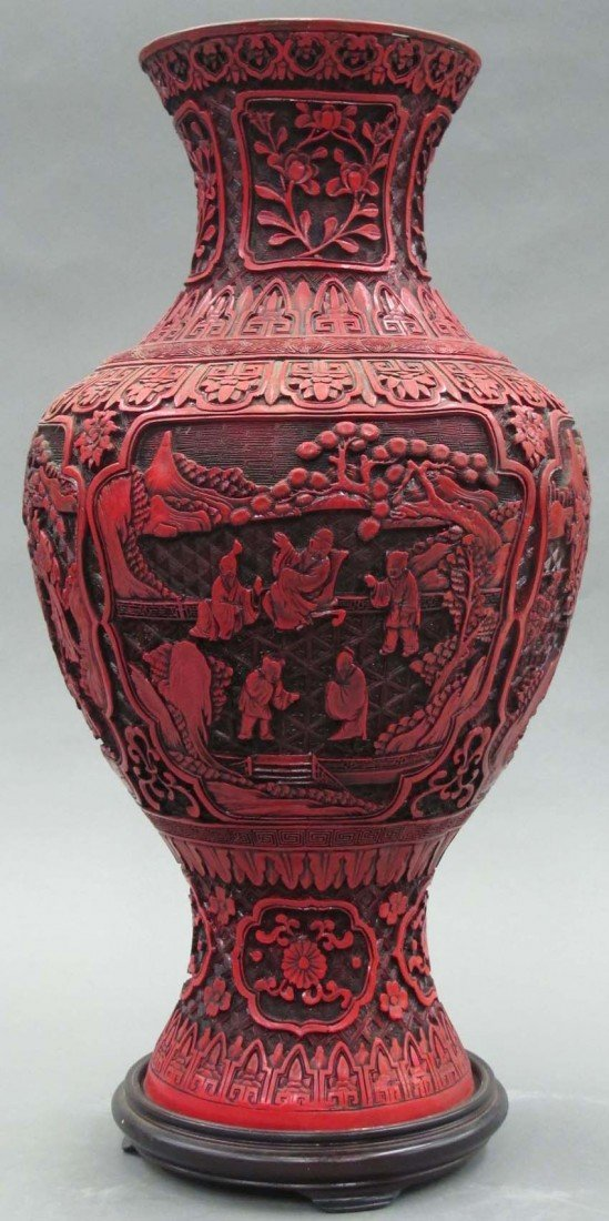 """CARVED CINNABAR VASE with stand height- 18"""""""