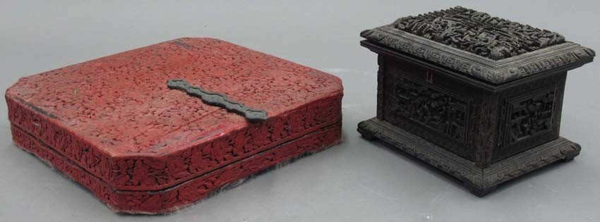 LOT OF (2) CARVED CASES