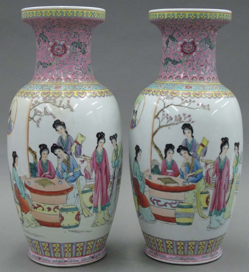 PAIR OF CHINESE PORCELAIN VASES with Qing mark