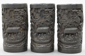 LOT OF (3) CHINESE CARVED WOOD BRUSH POTS Possi