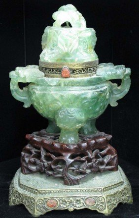CHINESE CARVED ONYX CENSER Converted Into Lamp
