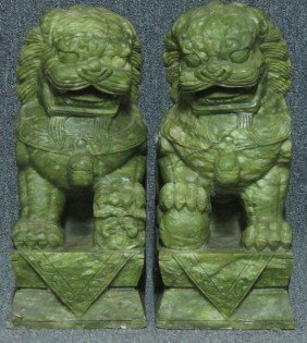 PAIR OF CARVED CHINESE FOO DOGS Height- 18""