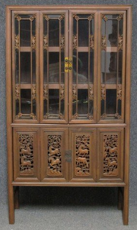 "CHINESE CARVED FOUR DOOR CURIO Height- 70"", Wid"