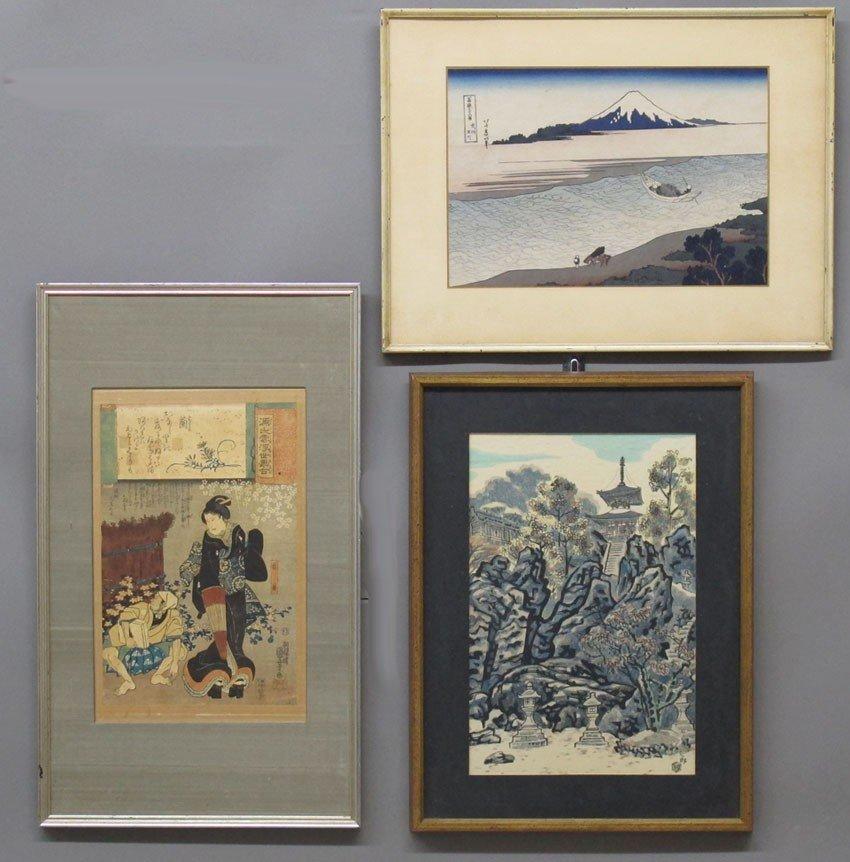 LOT OF (3) WOODBLOCKS Kuniyoshi, Hokusai, Nisab