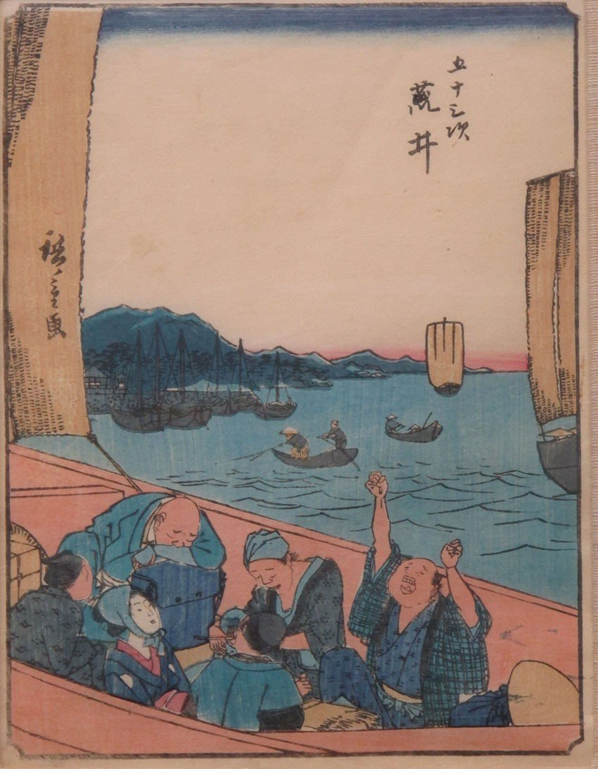 LOT OF (5) WOODBLOCKS Hiroshige note- (3) are m - 2