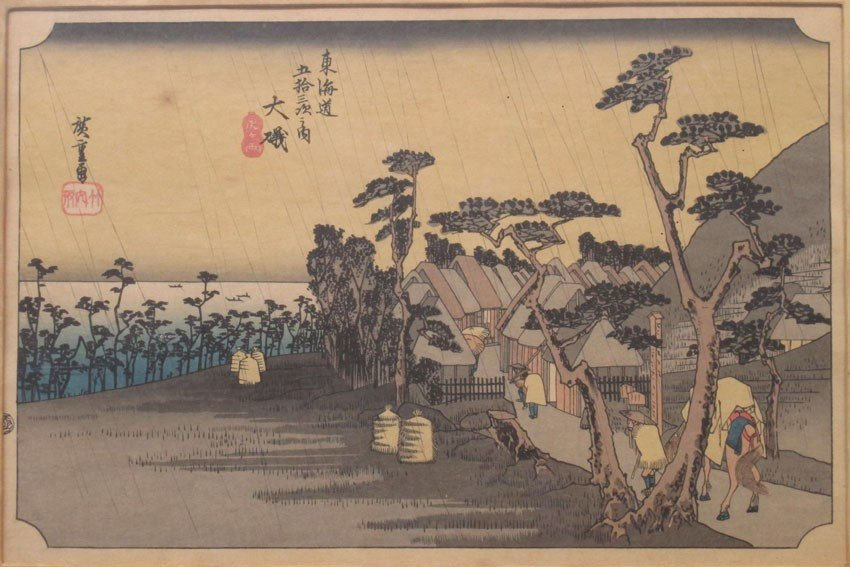 LOT OF (5) WOODBLOCKS Hiroshige note- (3) are m - 5