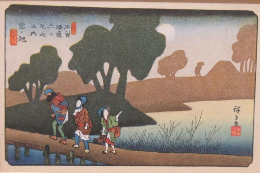 LOT OF (5) WOODBLOCKS Hiroshige note- (3) are m - 9