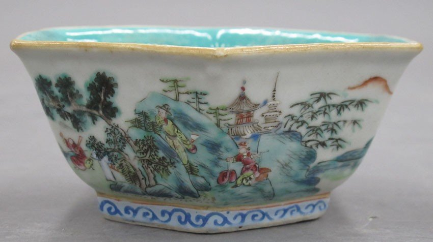 EARLY 20TH CENTURY PAINTED BOWL with stamp mark