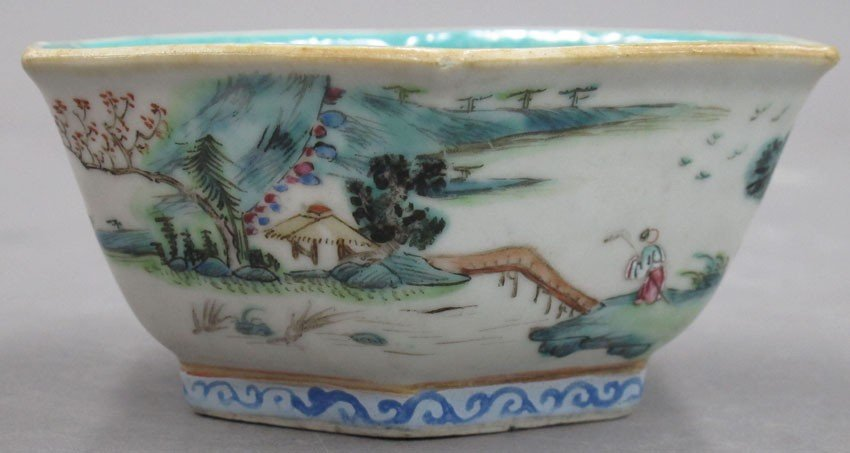 EARLY 20TH CENTURY PAINTED BOWL with stamp mark - 4