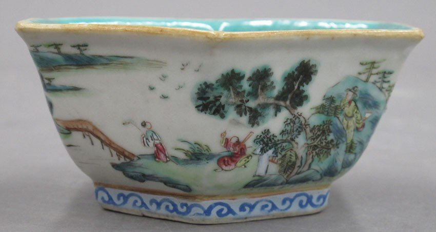 EARLY 20TH CENTURY PAINTED BOWL with stamp mark - 5