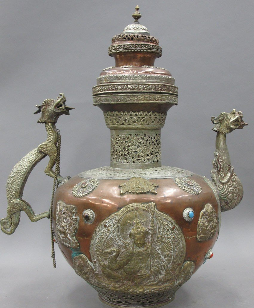 TIBETAN COPPER AND BRASS VESSEL