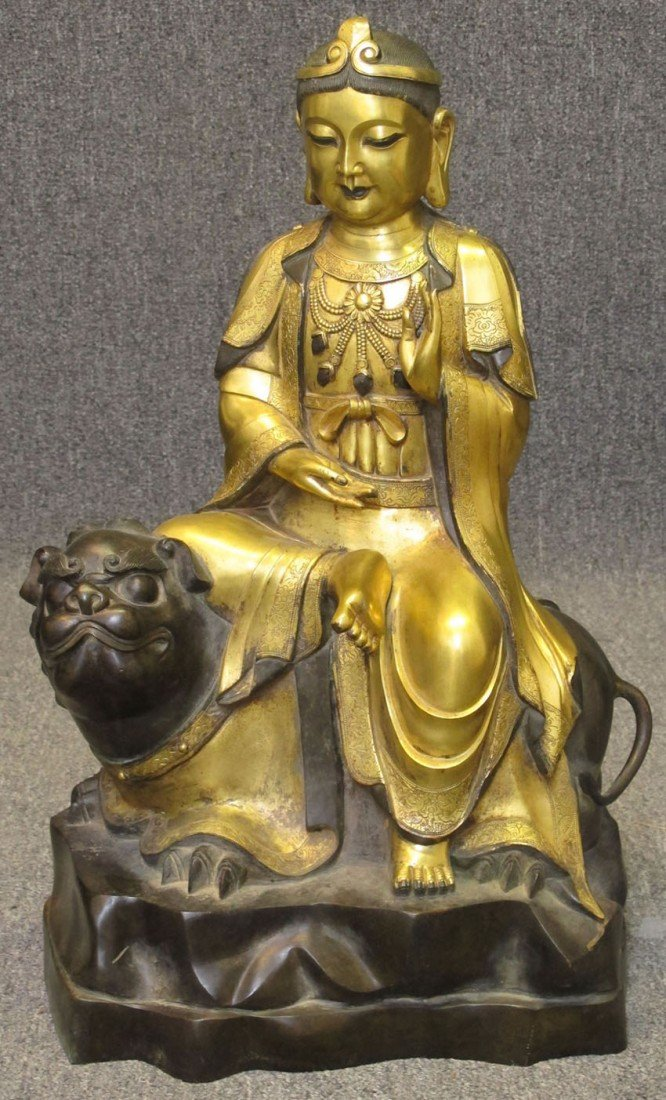 8218: TIBETAN BRONZE STATUE height- 26""