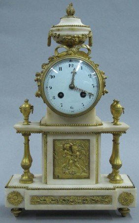 FRENCH ALABASTER GILT METAL MANTLE CLOCK Circa