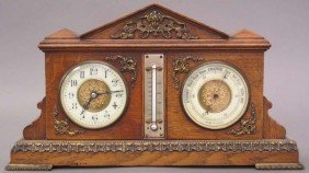 FRENCH OAK BAROMETER CLOCK early 20th century l