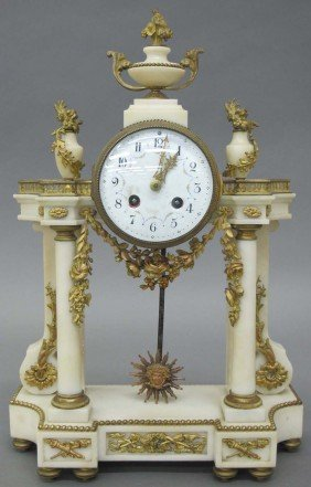 FRENCH ALABASTER MANTLE CLOCK Circa Late 19th C
