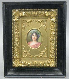GERMAN PAINTED PLAQUE IN GESSO FRAME Set In Sha