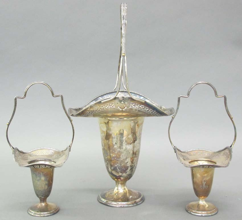 LOT OF (3) SHEFFIELD SILVER PLATE BASKETS heigh