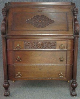 AMERICAN CARVED MAHOGANY DROP FRONT DESK With C