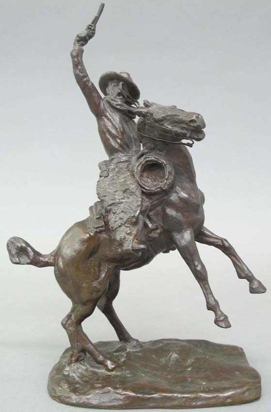 C.M. RUSSELL BRONZE STATUE SMOKING UP stamped R