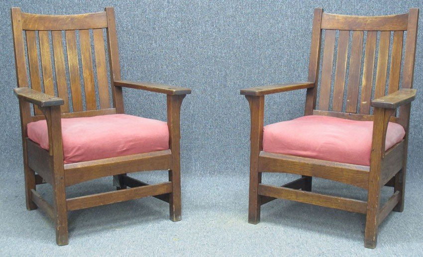 """PAIR OF L & JG STICKLEY ARM CHAIRS height- 40"""","""