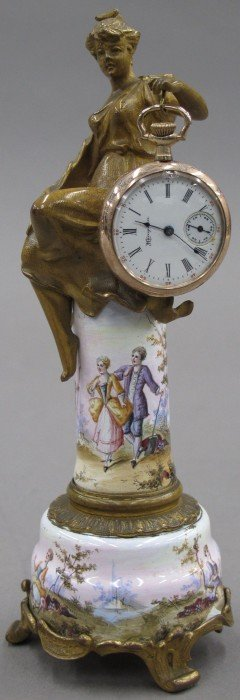 FRENCH BRONZE FIGURAL WATCH STAND With Gold Gil