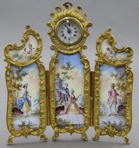 FRENCH GILT ENAMELED THREE PANEL MINIATURE SCRE