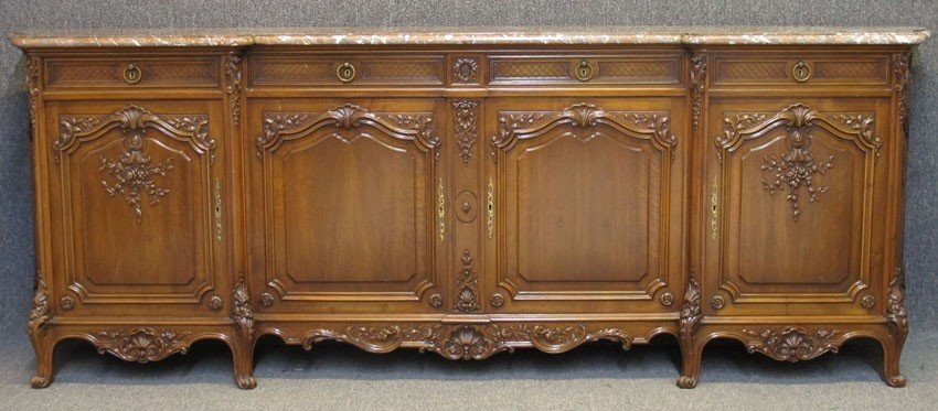 FRENCH PROVINCIAL CARVED WALNUT SIDEBOARD with