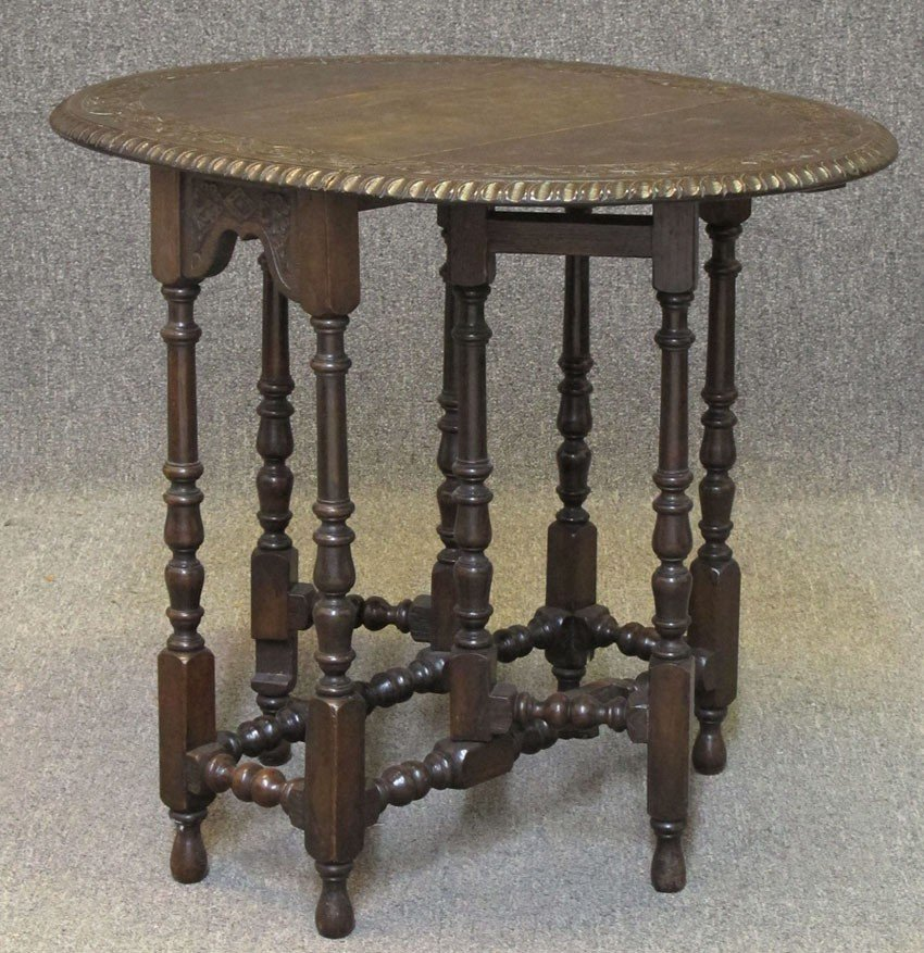 """CARVED OAK DROP LEAF TABLE height- 26"""", top 24"""""""