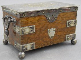 "VICTORIAN OAK & SILVER TEA BOX Height- 5"", Leng"