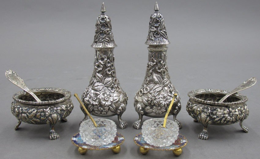 LOT WITH TWO PAIRS OF STERLING SALTS AND ONE PA