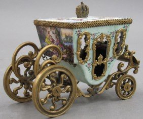 AUSTRIAN ENAMELED CARRIAGE Height- 3 1/2""