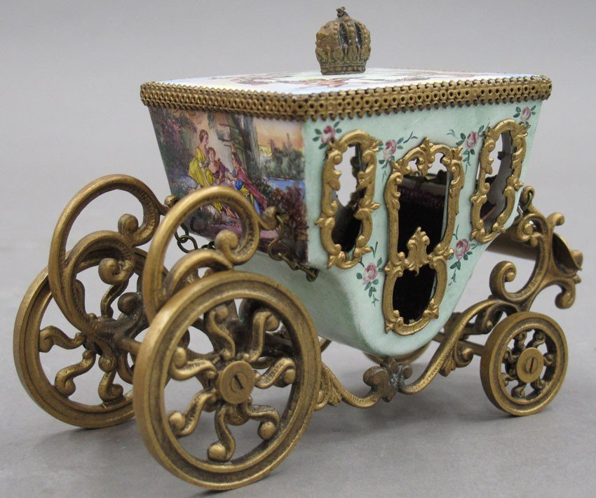 """AUSTRIAN ENAMELED CARRIAGE height- 3 1/2"""""""