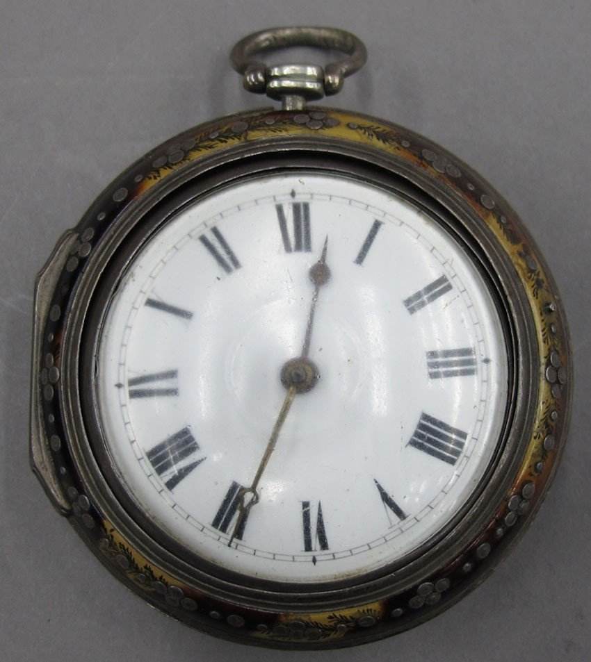 ENGLISH FUSEE POCKET WATCH with silver portrait