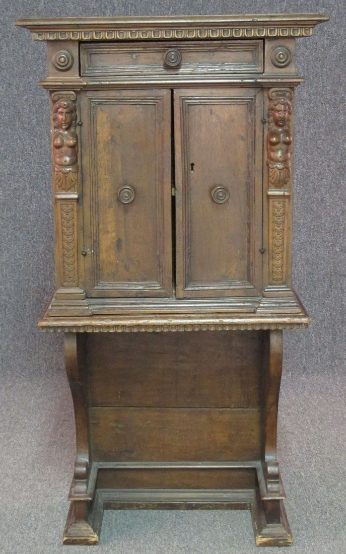 ITALIAN CARVED WALNUT SIDE CABINET circa late 1