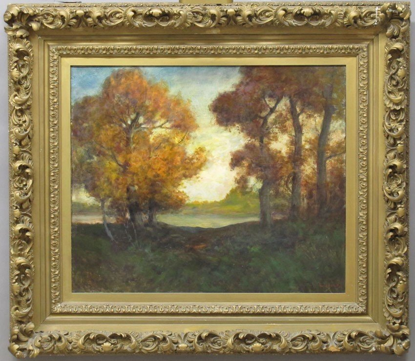 "OIL ON CANVAS L. LEEDS PAINTING ""Early Autumn i"