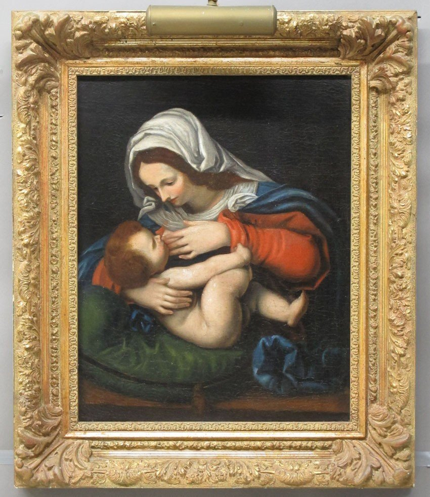 ITALIAN OIL ON CANVAS OF MADONNA AND CHILD circ