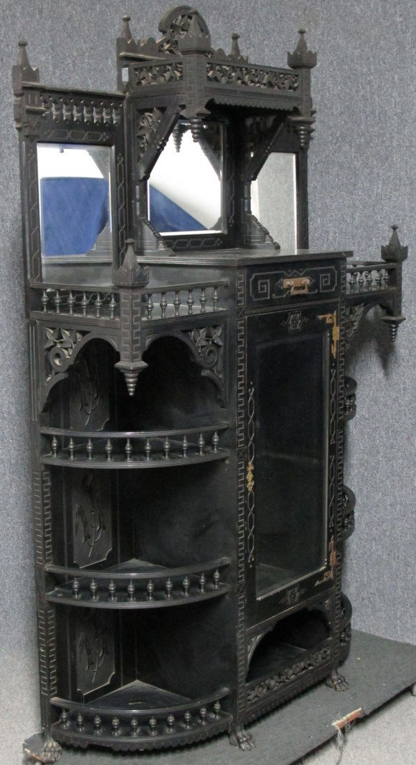 AMERICAN EBONIZED AESTHETIC MOVEMENT PARLOR CAB