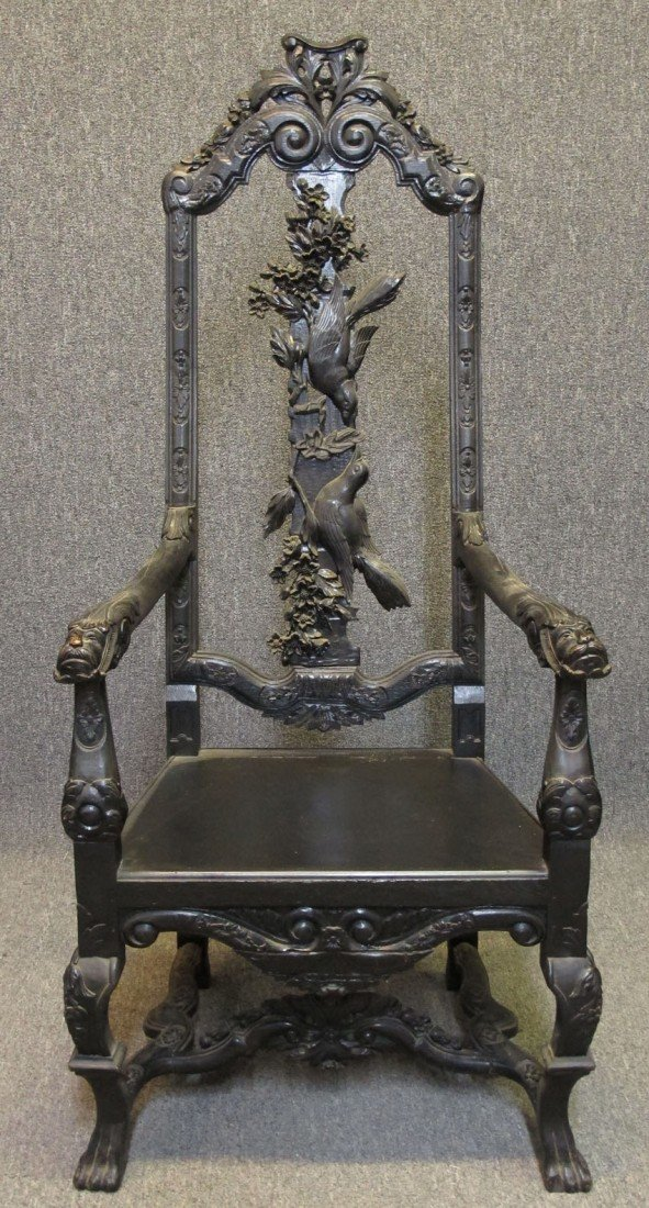 "VICTORIAN CARVED OAK ARMCHAIR height- 58"", widt"