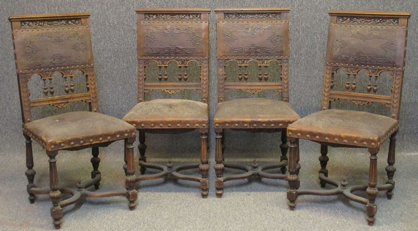 SET OF (4) VICTORIAN CHAIRS with leather tooled